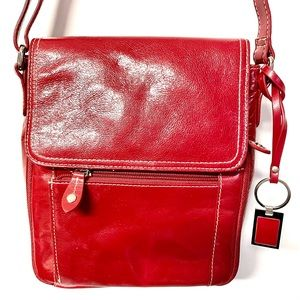 Gianni Bernini Ruby red leather pocketed cross